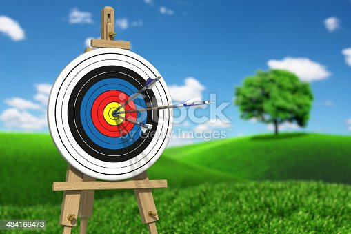 859332096 istock photo Three arrows on an archery target 484166473