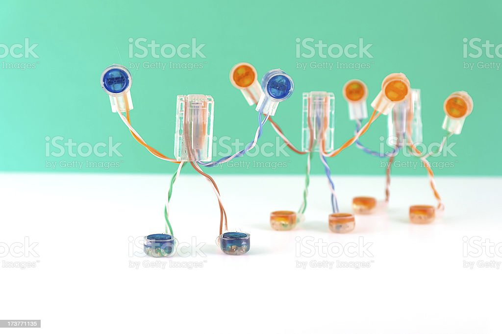 Three artificial small mans royalty-free stock photo