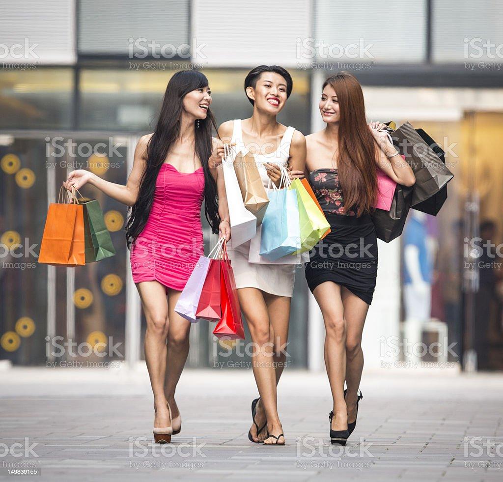 Three asian girls shopping stock photo