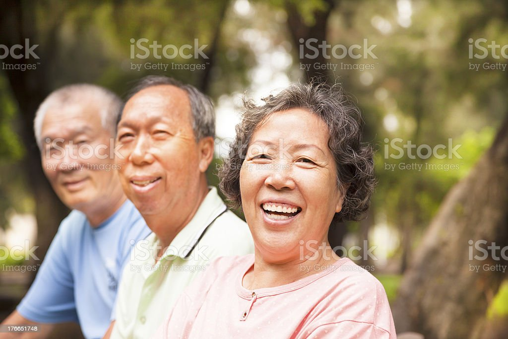 Three Asian seniors smiling in a park royalty-free stock photo