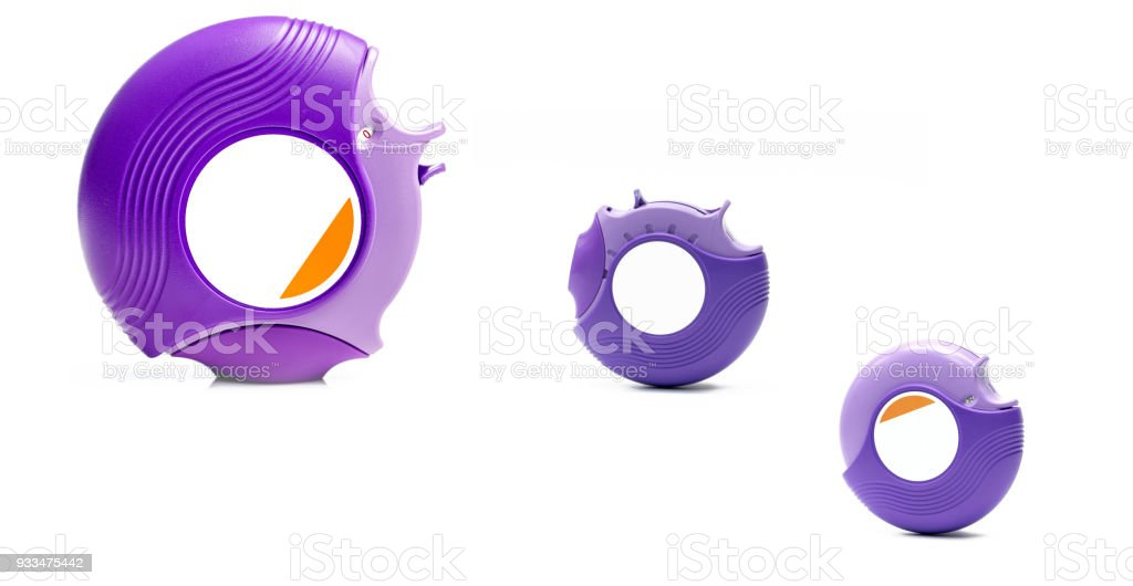 Three asthma accuhaler isolated on white background with copy space. Asthma inhaler for treatment asthma, Asthma controller. Steroid and bronchodilator medicine in purple accuhaler stock photo