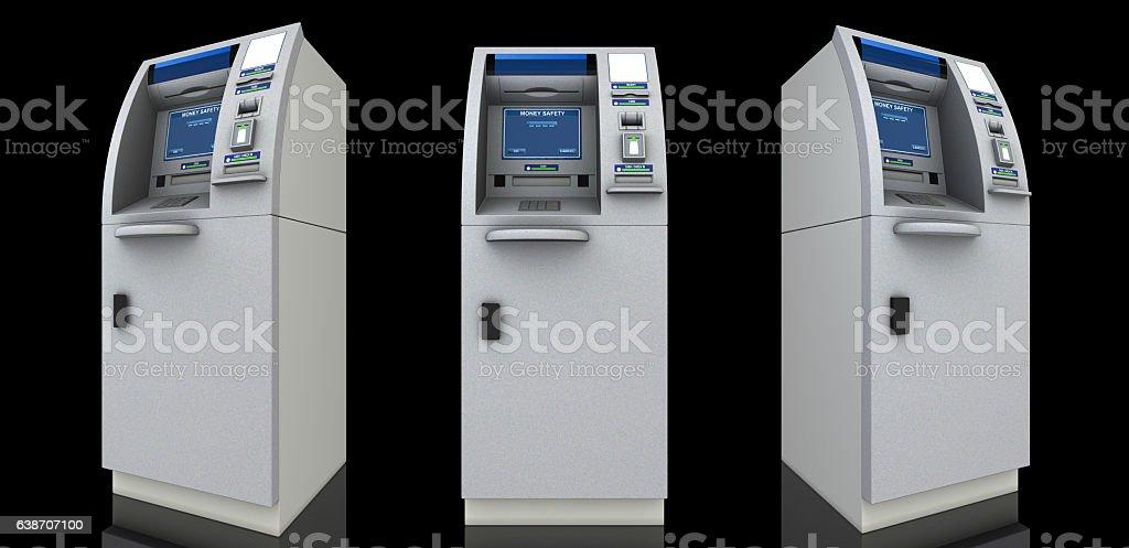 Three atm machines stock photo