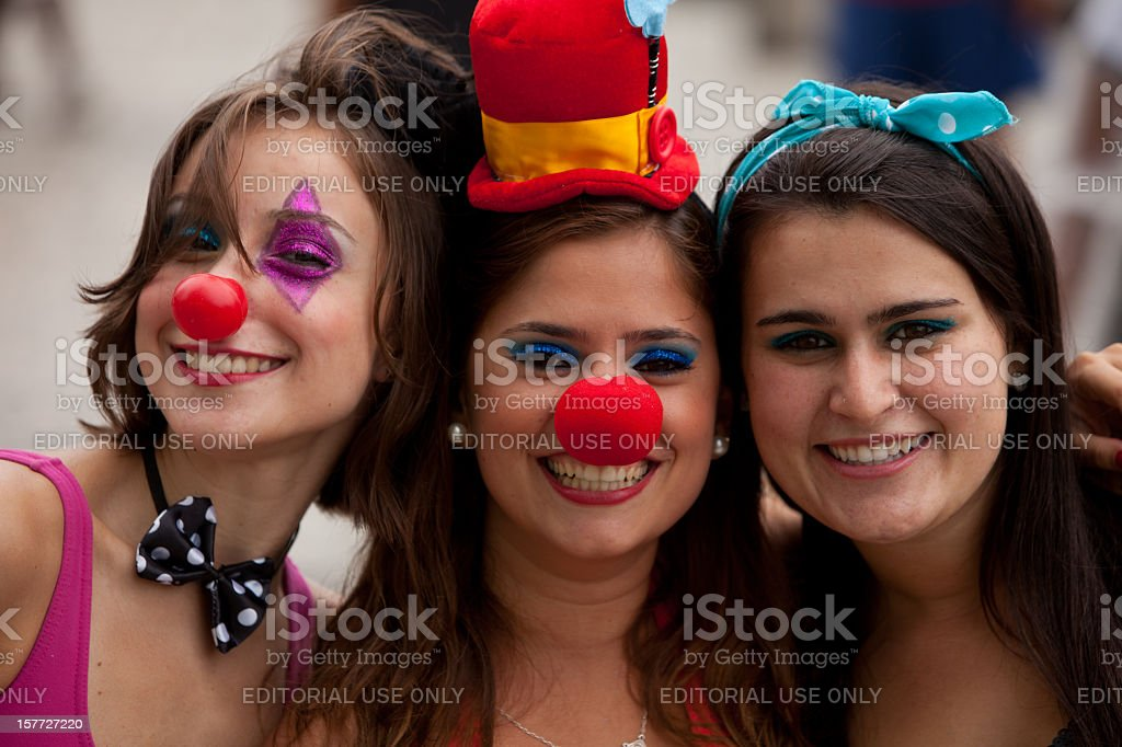 Three attractive young women at Carnival in Rio stock photo