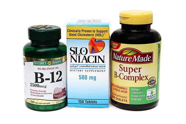Three B vitamin supplements stock photo