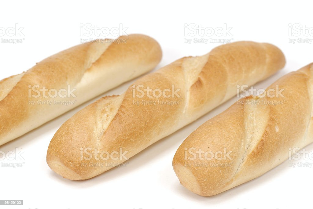 Three baguettes isolated over white background royalty-free stock photo