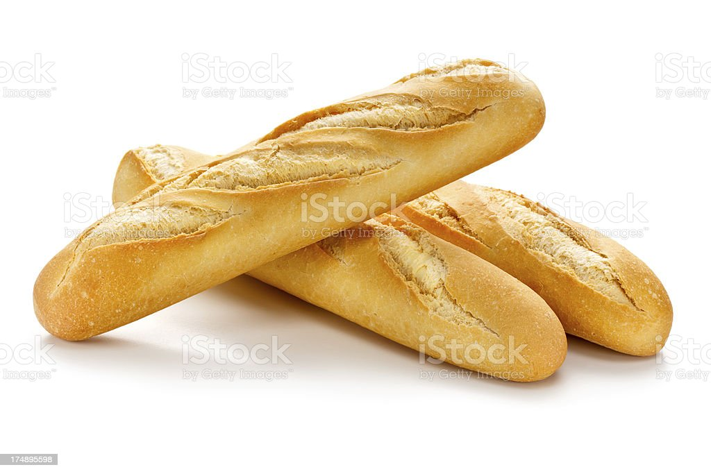 Three Baguettes with Clipping Path stock photo
