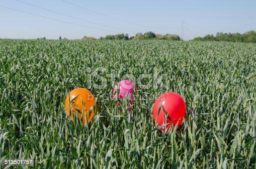 istock three balloons on rye crop field blue summer sky 513501757