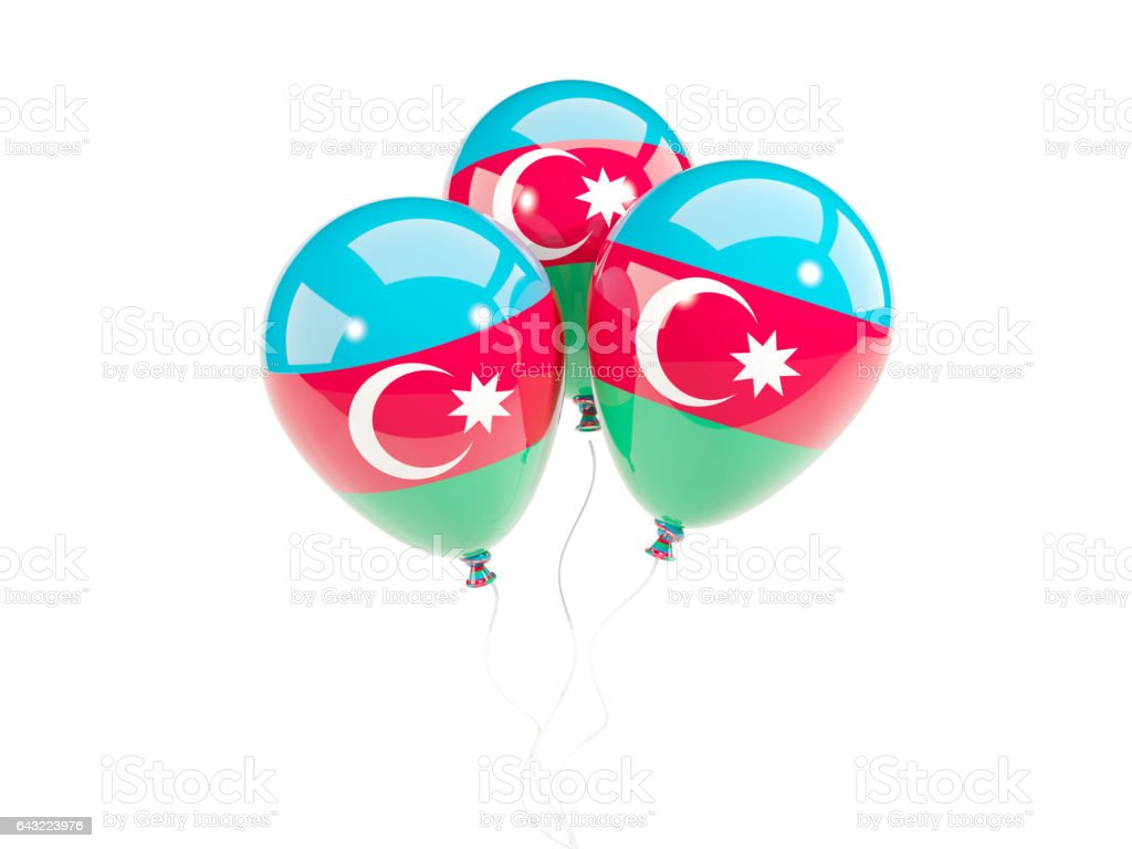 Three balloons with flag of azerbaijan stock photo