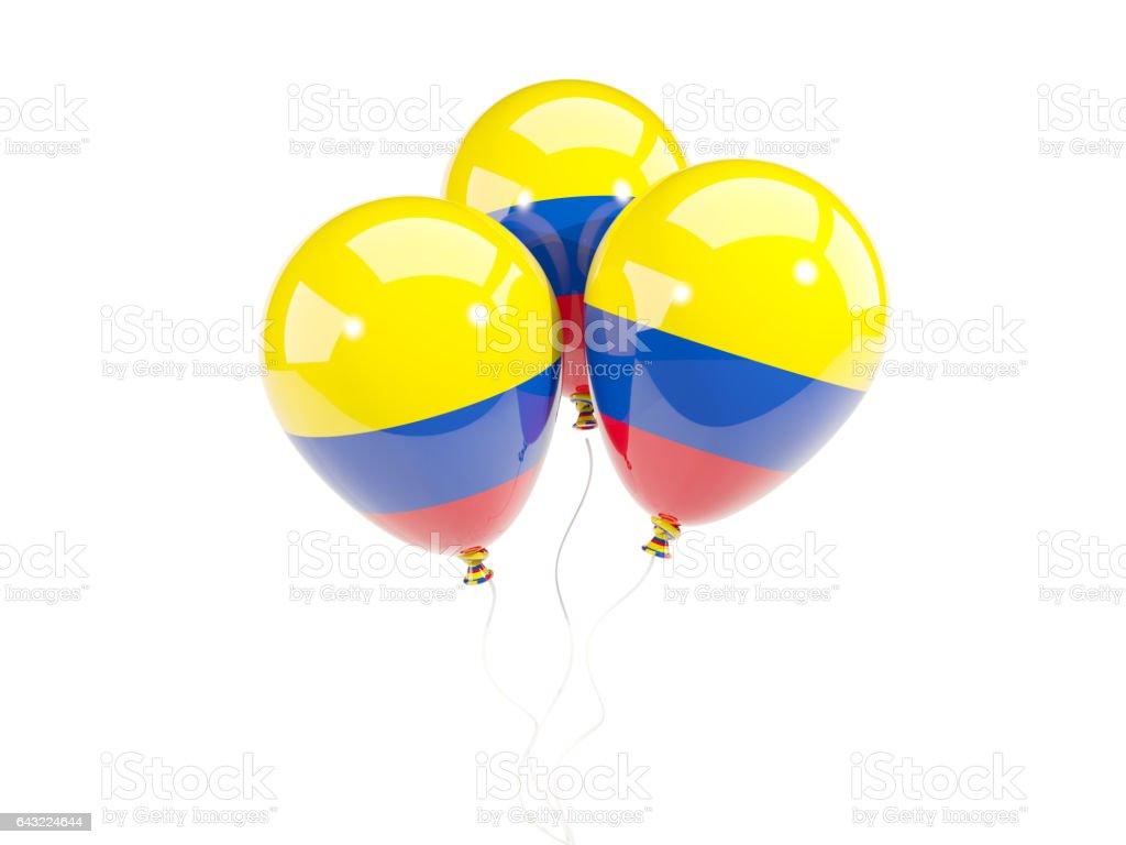 Tres globos con la bandera de colombia - foto de stock