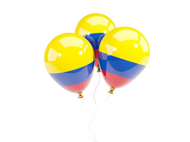 tres globos con la bandera de colombia - bandera colombiana fotografías e imágenes de stock