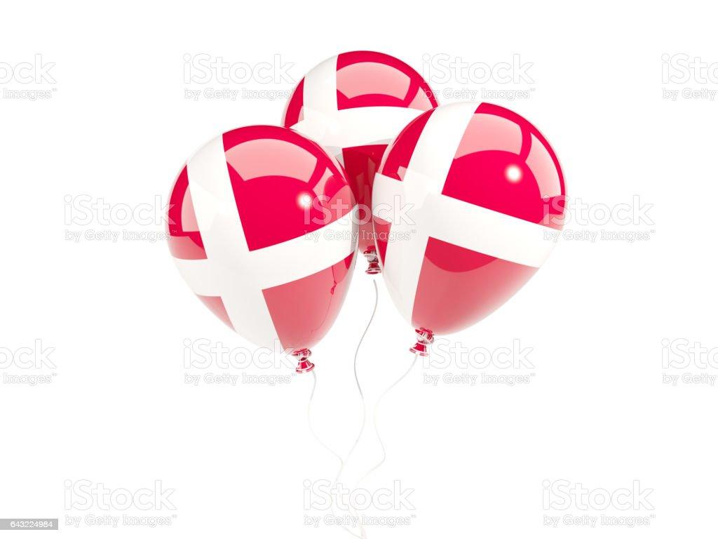 Three balloons with flag of denmark - foto de stock