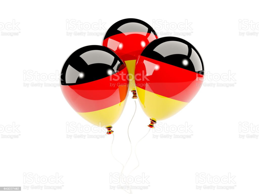 Three balloons with flag of germany stock photo