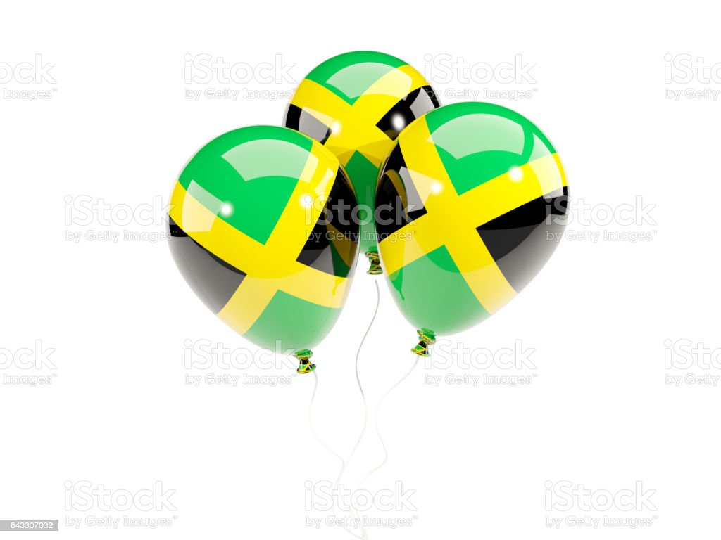 Three Balloons With Flag Of Jamaica Stock Photo More Pictures Of