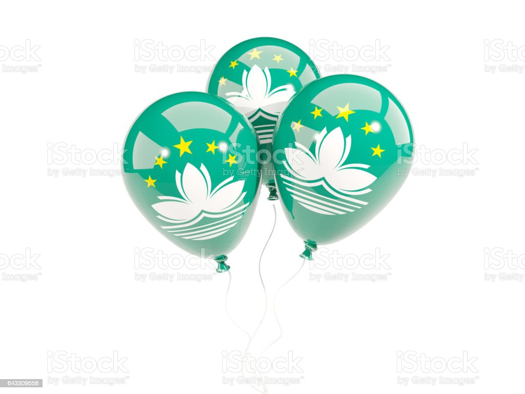 Three balloons with flag of macao stock photo