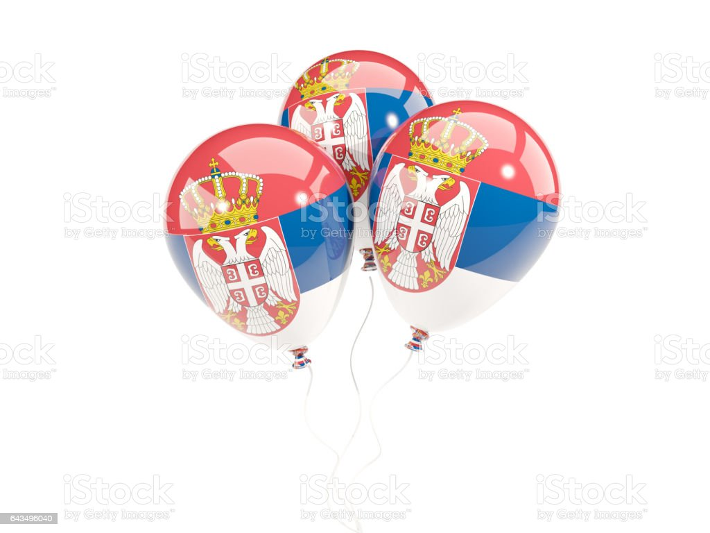 Three balloons with flag of serbia - fotografia de stock