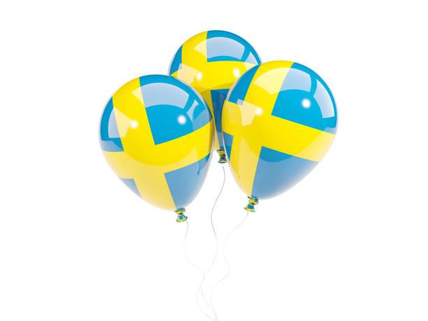 Três balões com bandeira da Suécia - foto de acervo