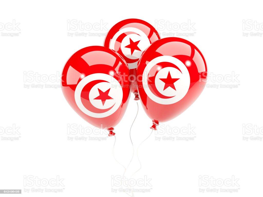 Three balloons with flag of tunisia stock photo