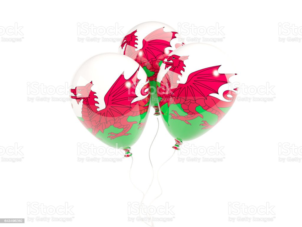 Three balloons with flag of wales stock photo