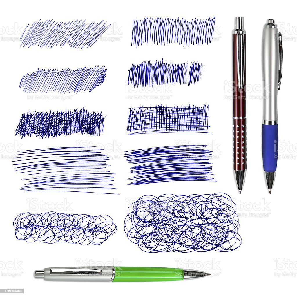 Three ballpoint pens and blue drawings isolated stock photo