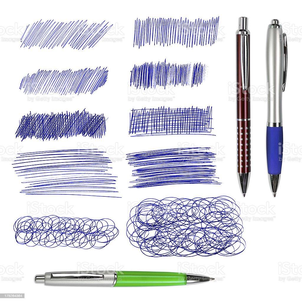 3 つのボールペンペンとブルーの図面絶縁型 ストックフォト