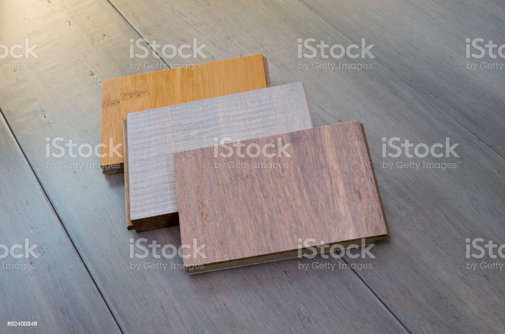 Three Bamboo Flooring Samples stock photo