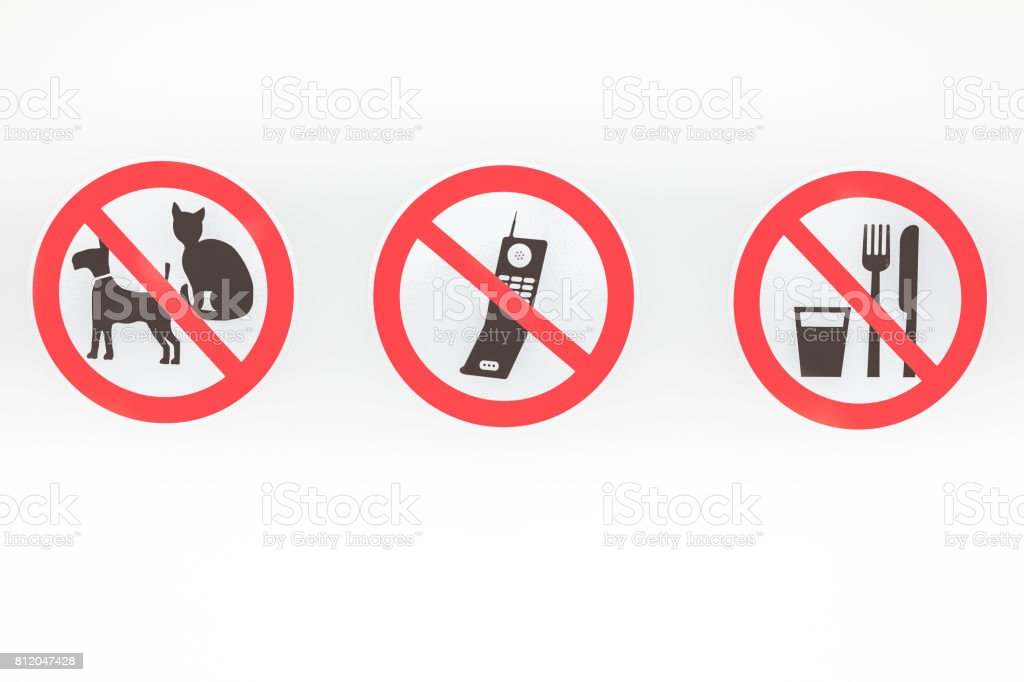 Three ban signs stock photo