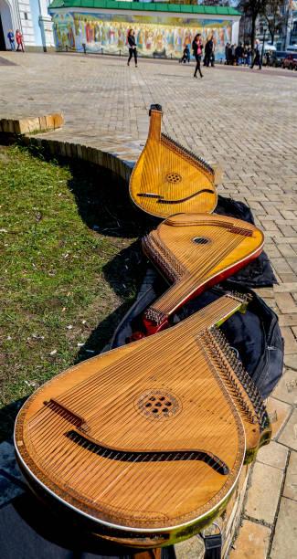Cтоковое фото Three bandura (pandora) on the bench