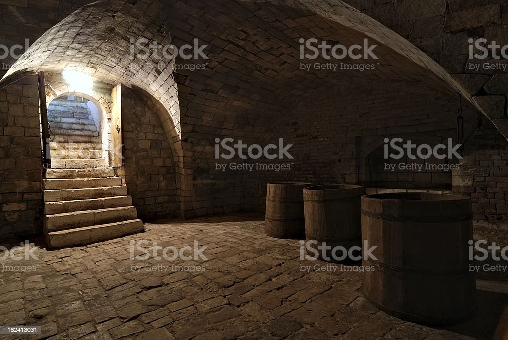 Three barrels in the cellar stock photo