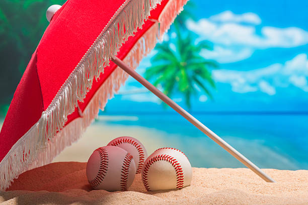 three baseball on the beach for spring training grapefruit league - spring training stock photos and pictures