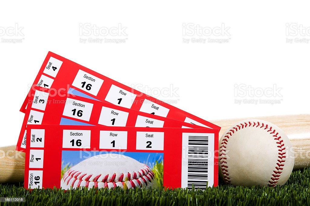 Three Baseball Tickets in Grass with Ball and Bat stock photo