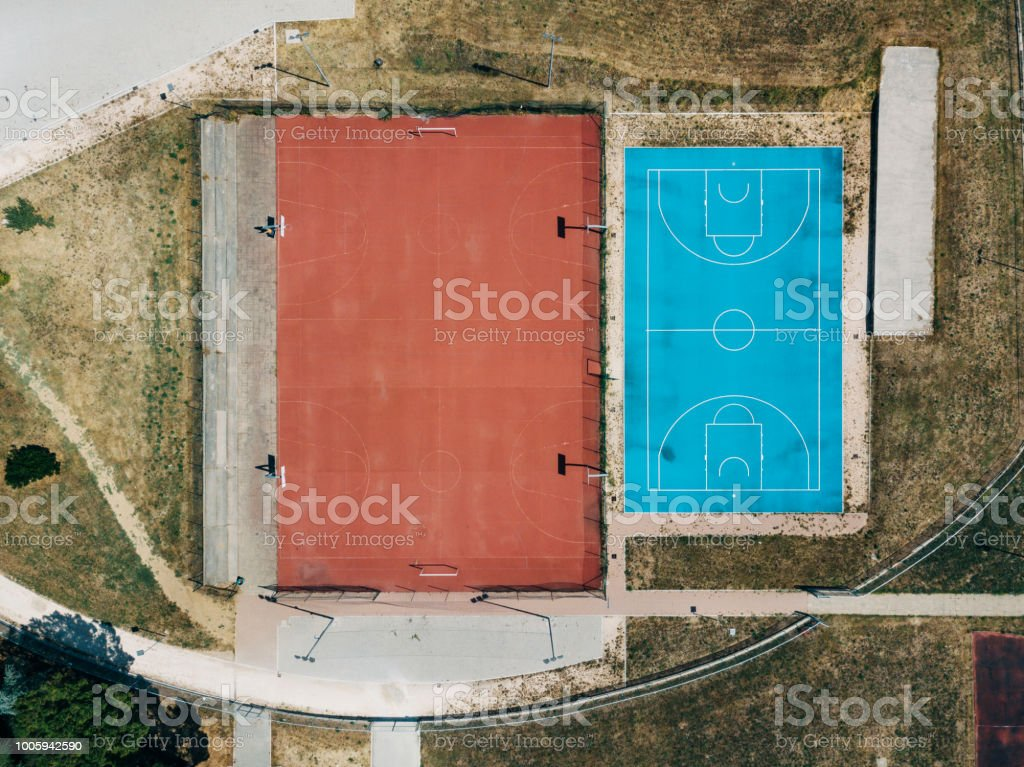 Three Basketball courts from aerial point of view