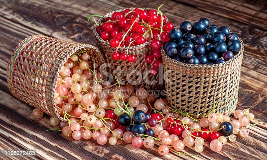 istock Three baskets of currants scattered 1198272463