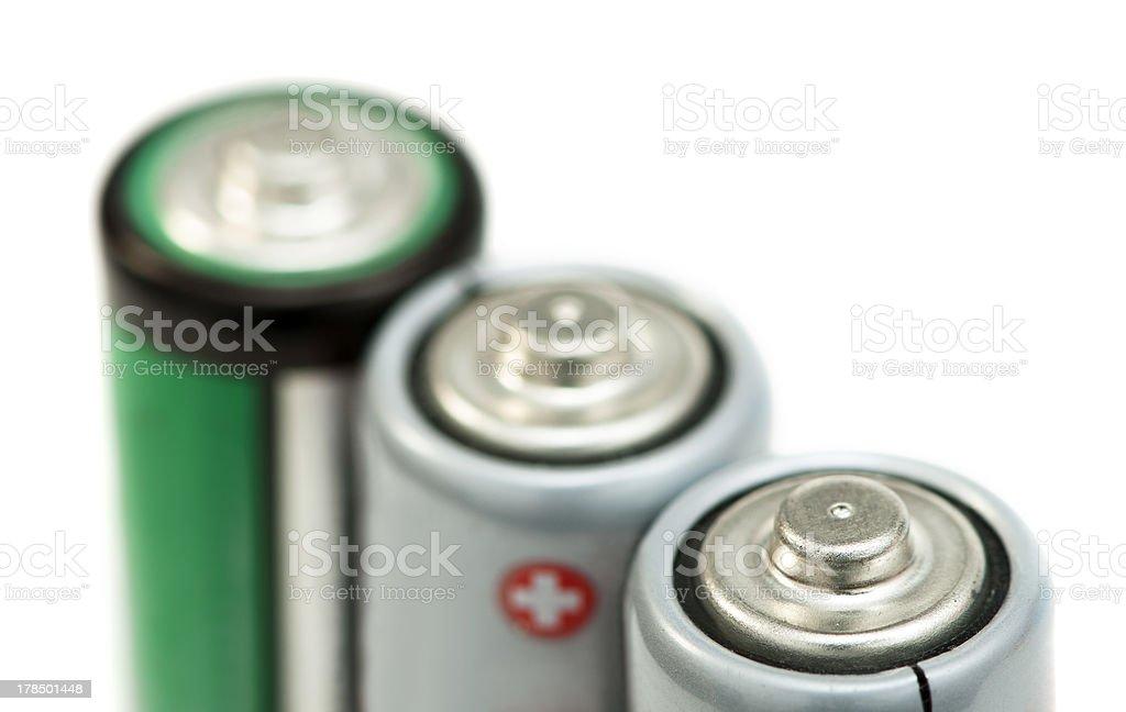 Three batteries close up royalty-free stock photo