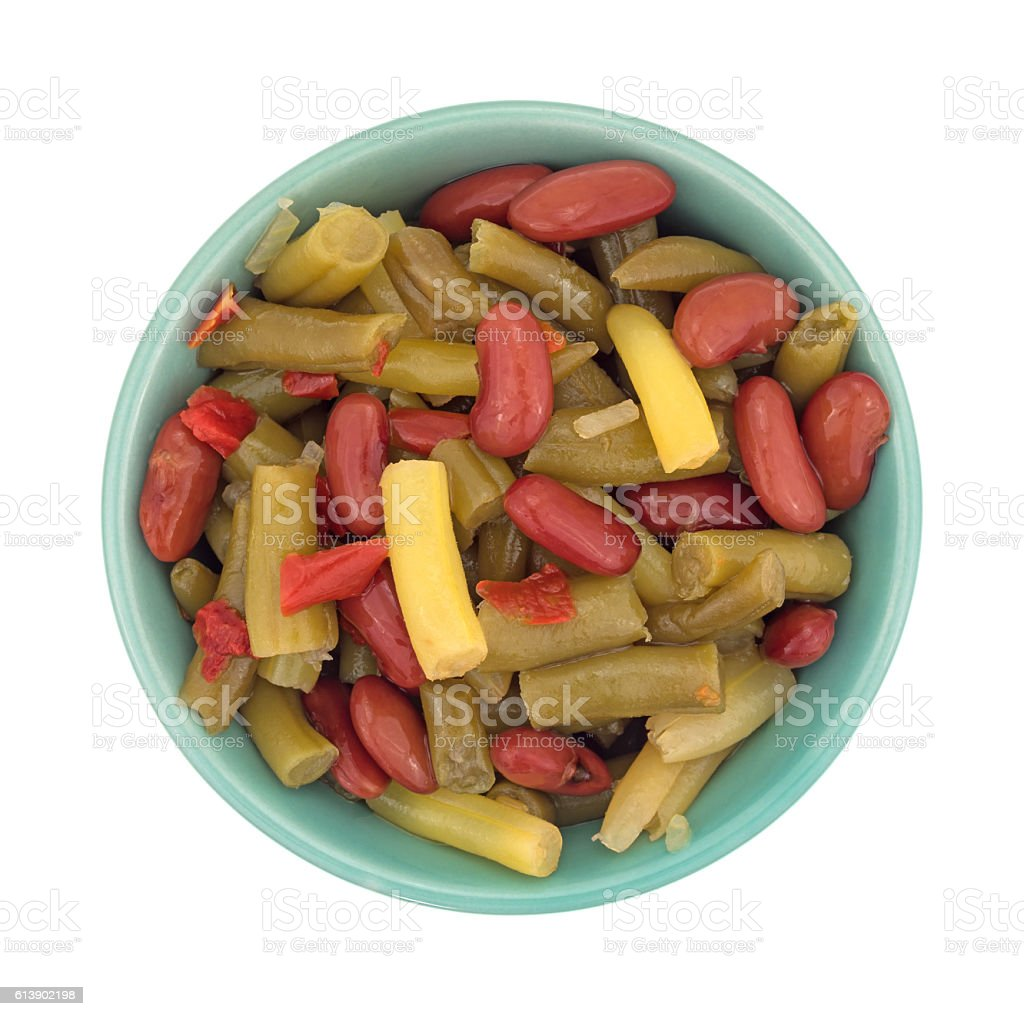 Three bean salad in a small bowl stock photo