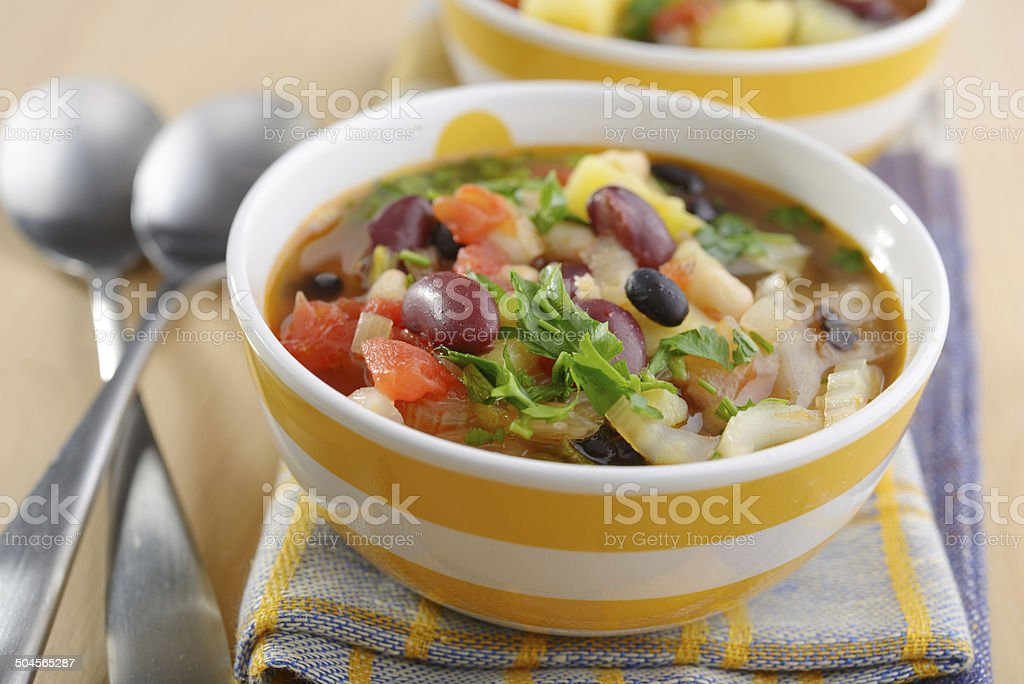Three bean soup stock photo