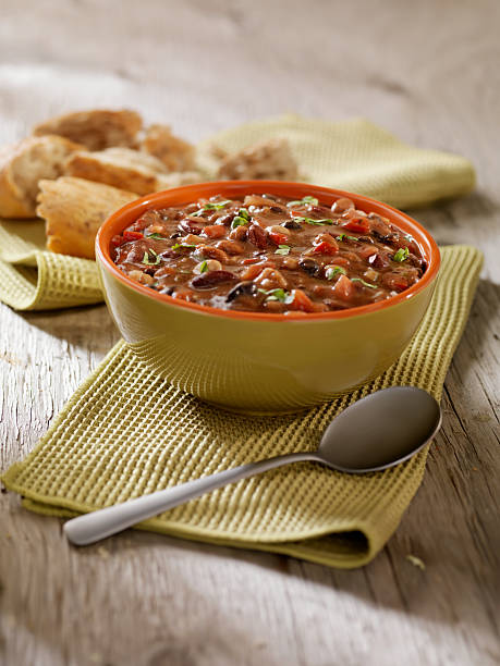 Three Bean Soup with Crusty Bread stock photo