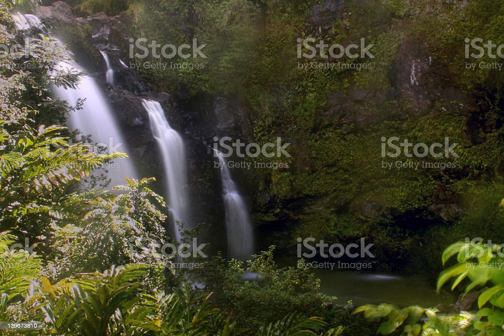Three Bears Waterfall on Maui royalty-free stock photo