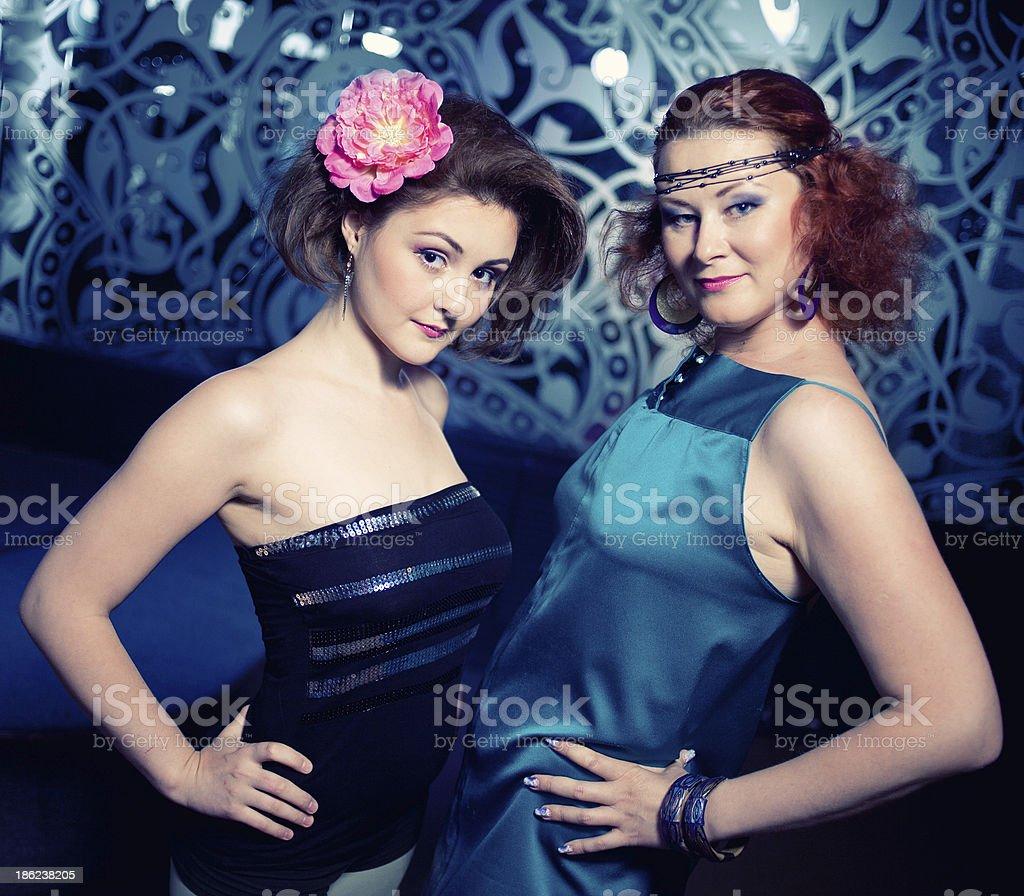 three beautiful girls celebrating stock photo