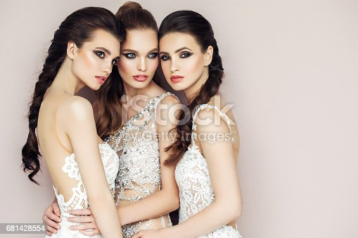 564586660istockphoto Three beautiful girls with perfect hairstyle and make-up 681428554