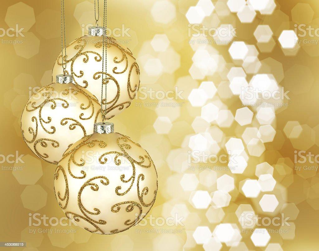 Três bolas de Natal ouro linda - foto de acervo