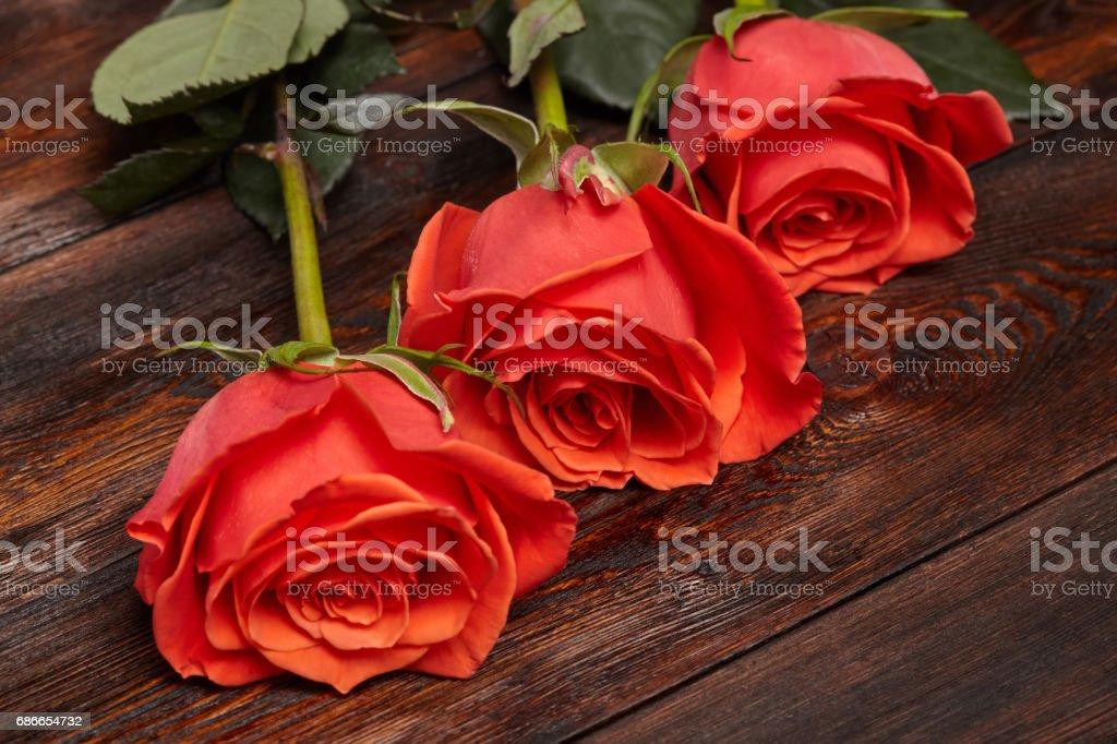Tres hermosas rosas en mesa de madera, fondo romántico foto de stock libre de derechos