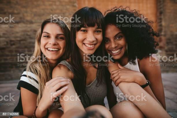 Three beautiful smiling girlfriends taking selfie picture id831740588?b=1&k=6&m=831740588&s=612x612&h=hsxkjxxjumuqpcjoht t81jqvfx3pybmfcevjlfoveo=
