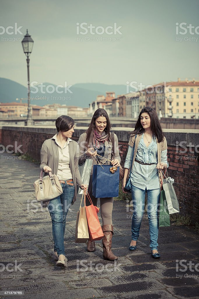 Three Beautiful Young Women with Shopping Bags royalty-free stock photo