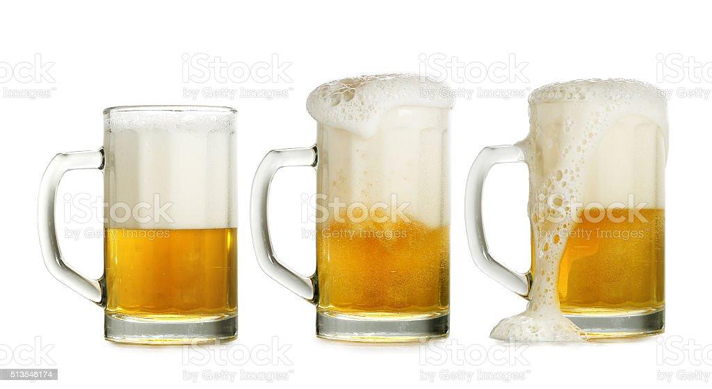 three beer glasses stock photo