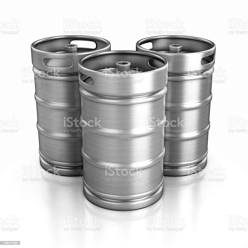 three beer kegs isolated on white stock photo