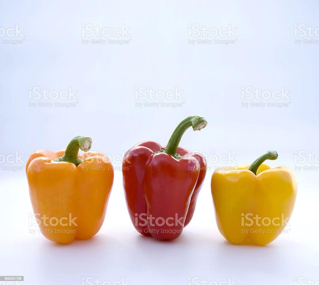 Three Bell Peppers royaltyfri bildbanksbilder