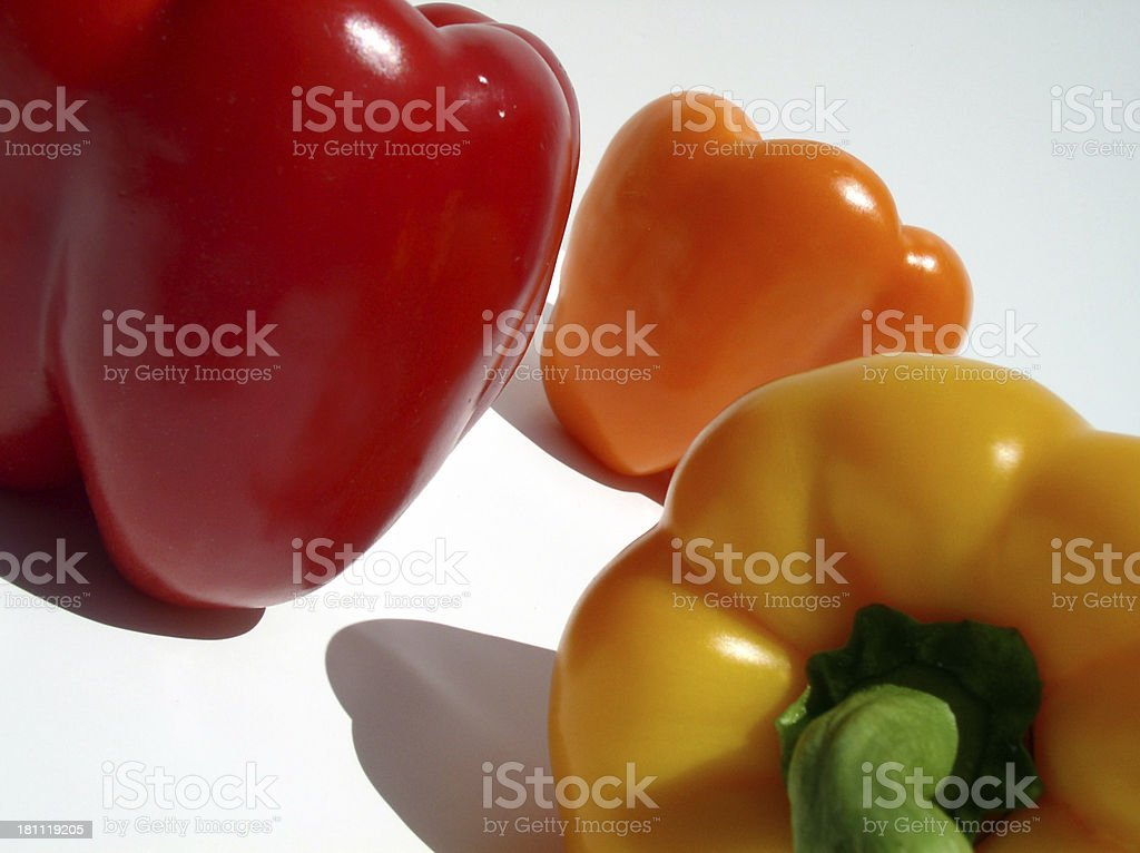Three Bell Peppers Together stock photo
