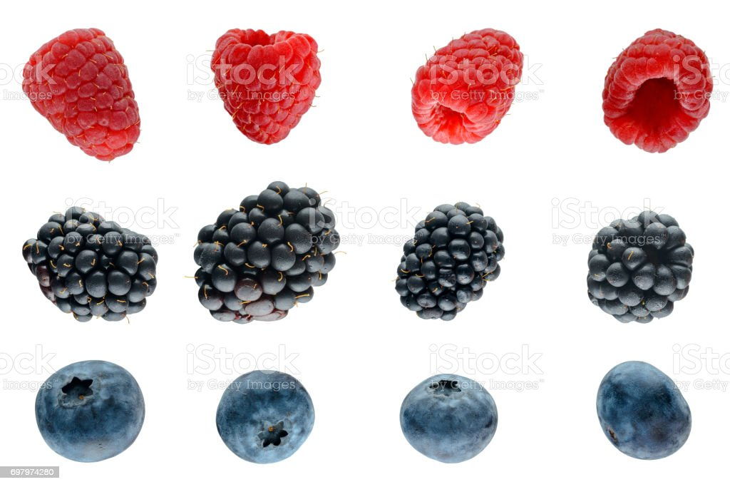 Three berries isolated on white stock photo