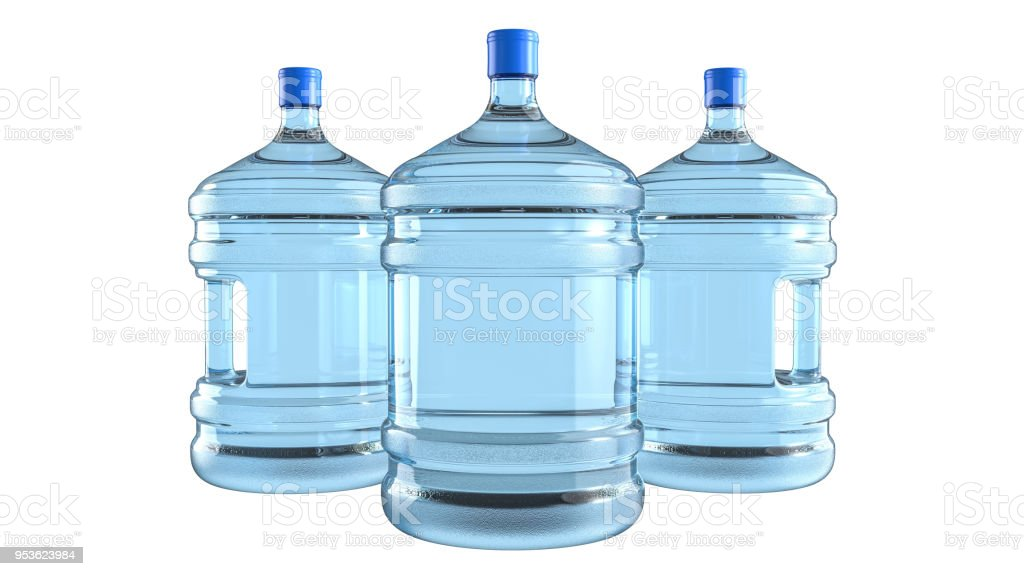 Three Big Plastic Barrel Gallon Bottle With A Handle For Office Water Cooler Stock Photo Download Image Now Istock