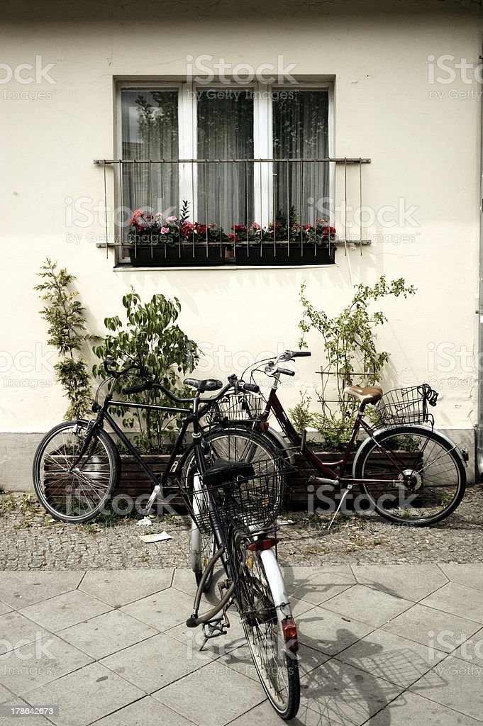 Three bikes in the pavement royalty-free stock photo